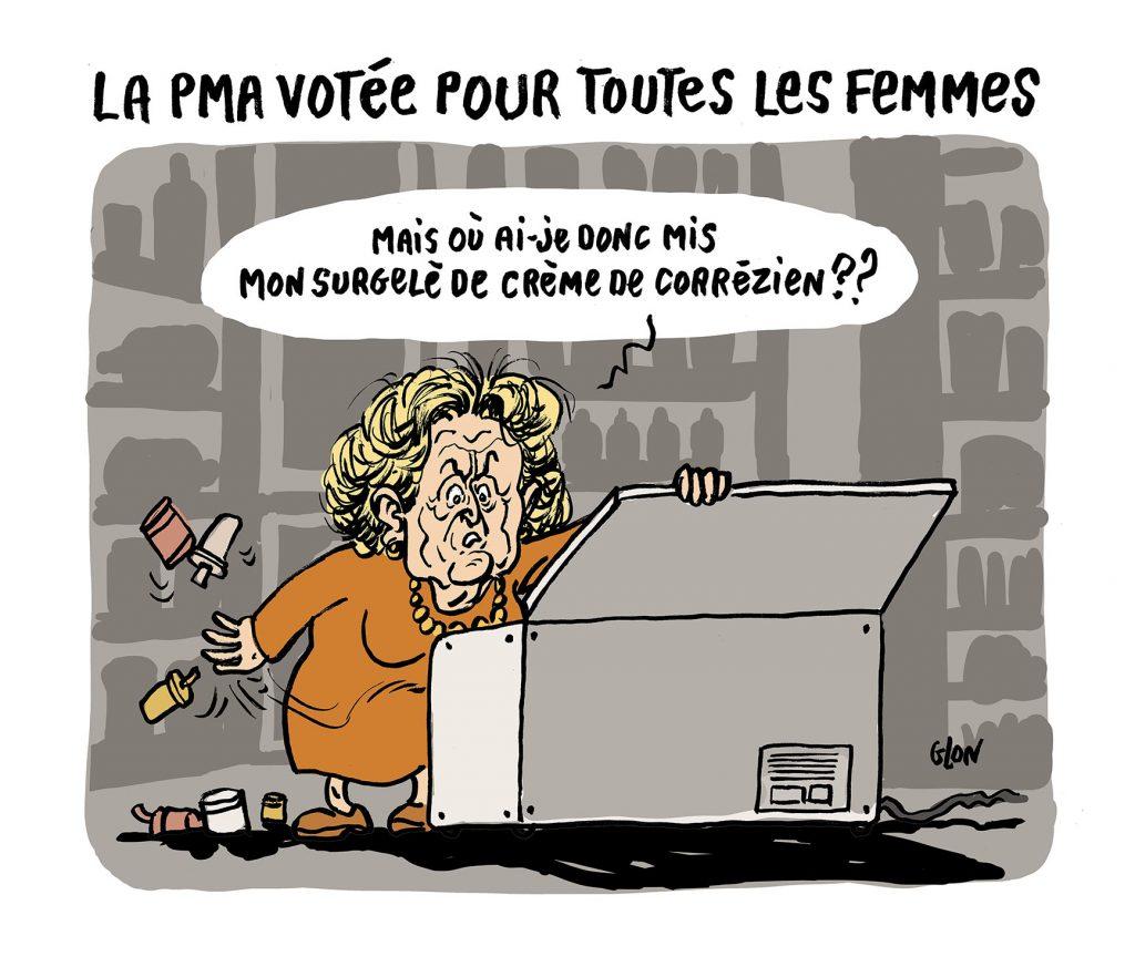dessin humoristique de Glon sur Bernadette Chirac, la mort de Jacques Chirac et la PMA pour tous