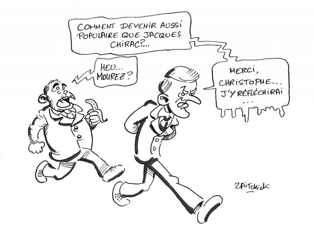 dessin humoristique de Zaïtchick sur la mort de Jacques Chirac et la réaction d'Emmanuel Macron