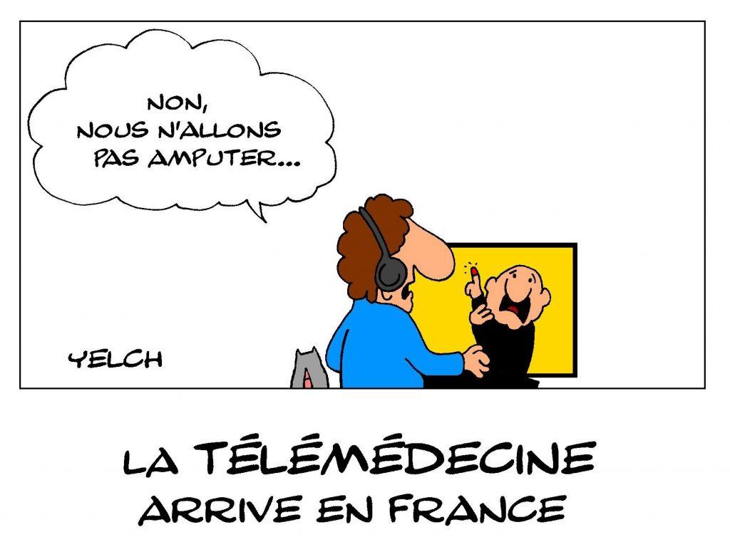 dessin de Yelch sur l'arrivée en France de la télémédecine