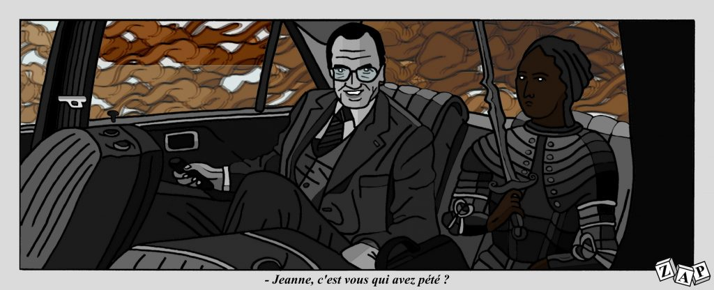dessin d'actualité de Zap sur la mort de Jacques Chirac, sur l'incendie de l'usine Lubrizol à Rouen et sur Jeanne d'Arc