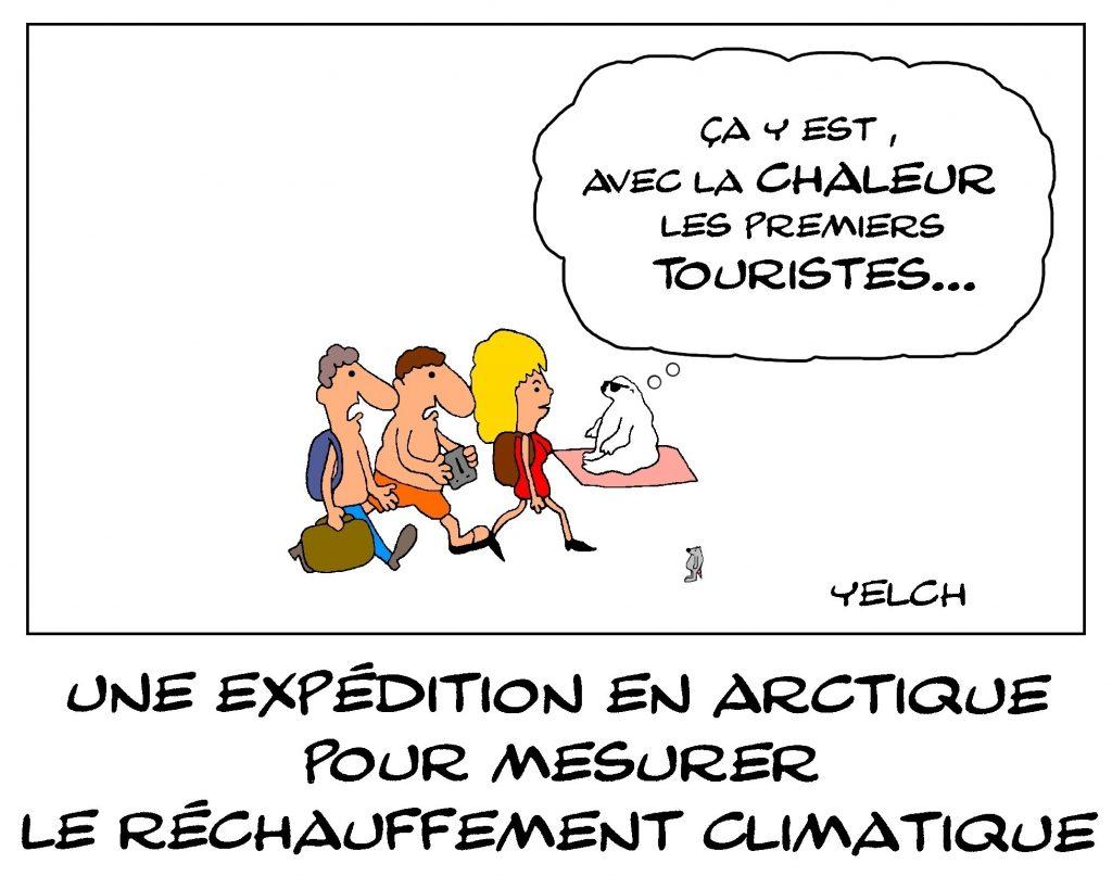dessin de Yelch sur l'expédition en Arctique pour mesurer le réchauffement climatique