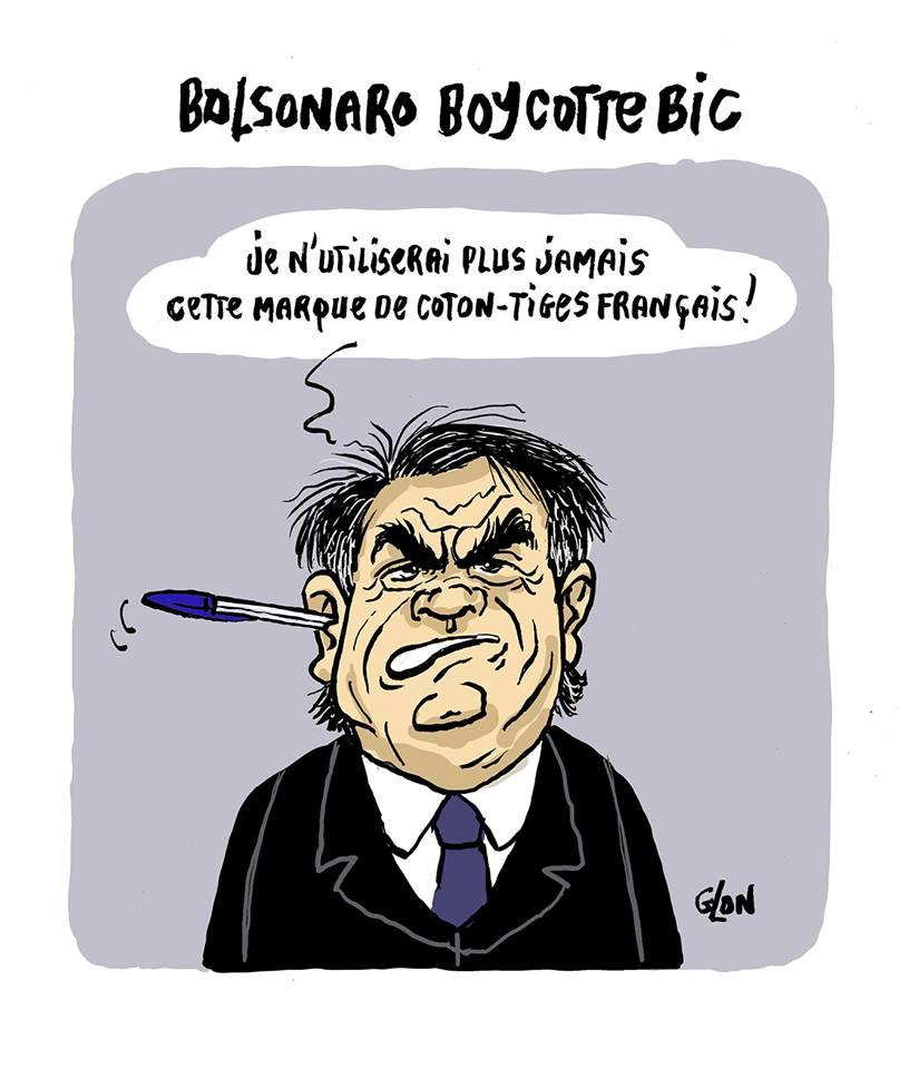 dessin humoristique de Glon sur le boycott de Bic par Jair Bolsonaro