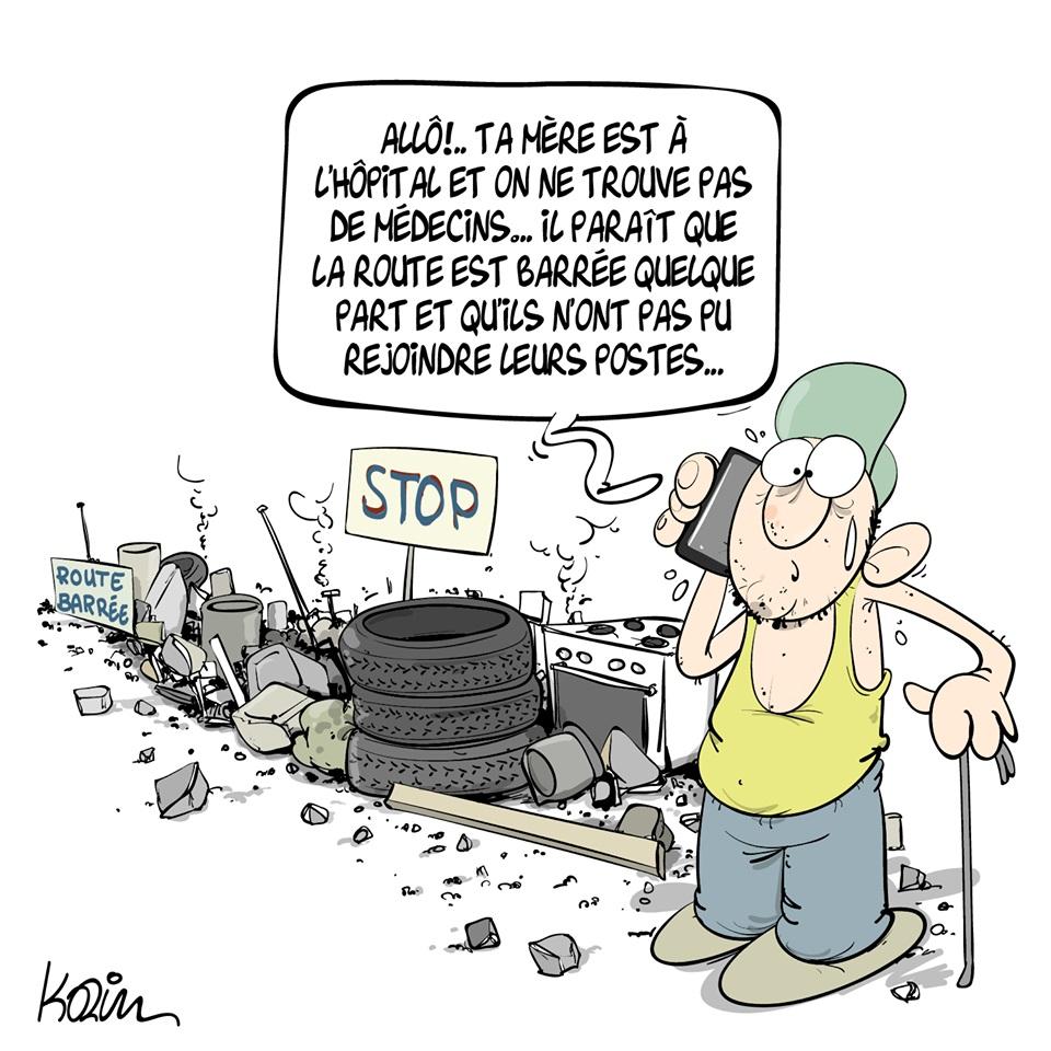dessin d'actualité humoristique de Karim sur les blocages de rues en Algérie