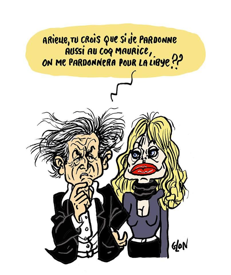 dessin humoristique de Glon sur le pardon de Bernard-Henri Lévy