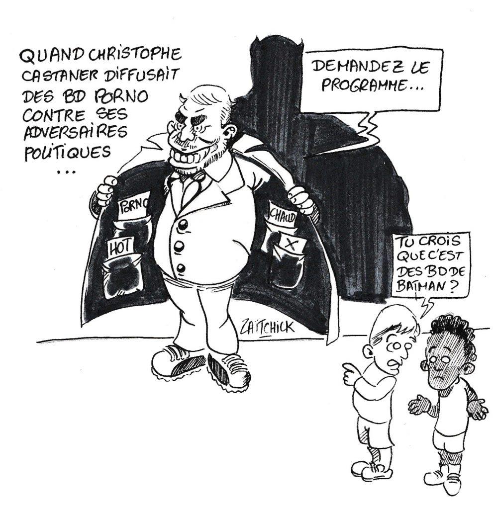 dessin humoristique de Zaïtchick sur les bandes dessinées pornographiques de Christophe Castaner