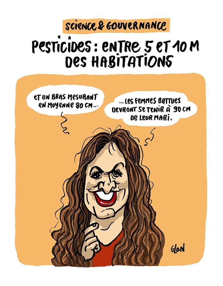 dessin humoristique de Glon sur Marlène Schiappa, les violences faites aux femmes et la distance de sécurité préconisée pour l'épandage des pesticides