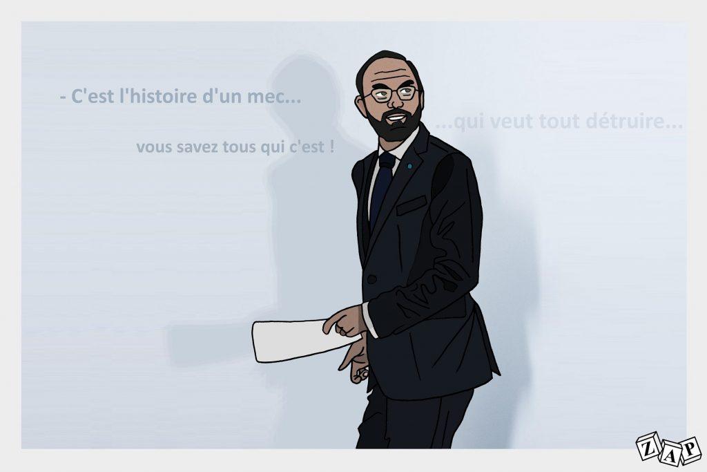 dessin d'actualité de Zap sur le discours de rentrée politique d'Édouard Philippe à Bordeaux