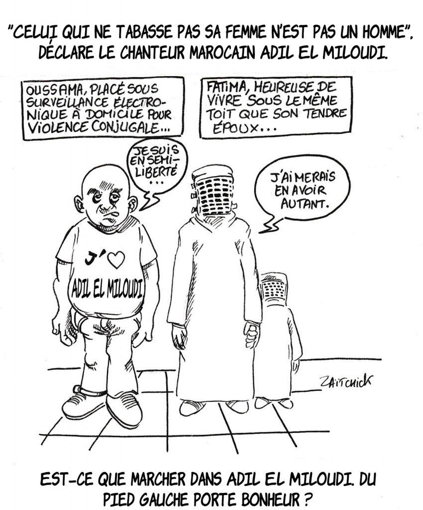 dessin humoristique de Zaïtchick sur les déclaration d'Adil El Miloudi sur les violences conjugales