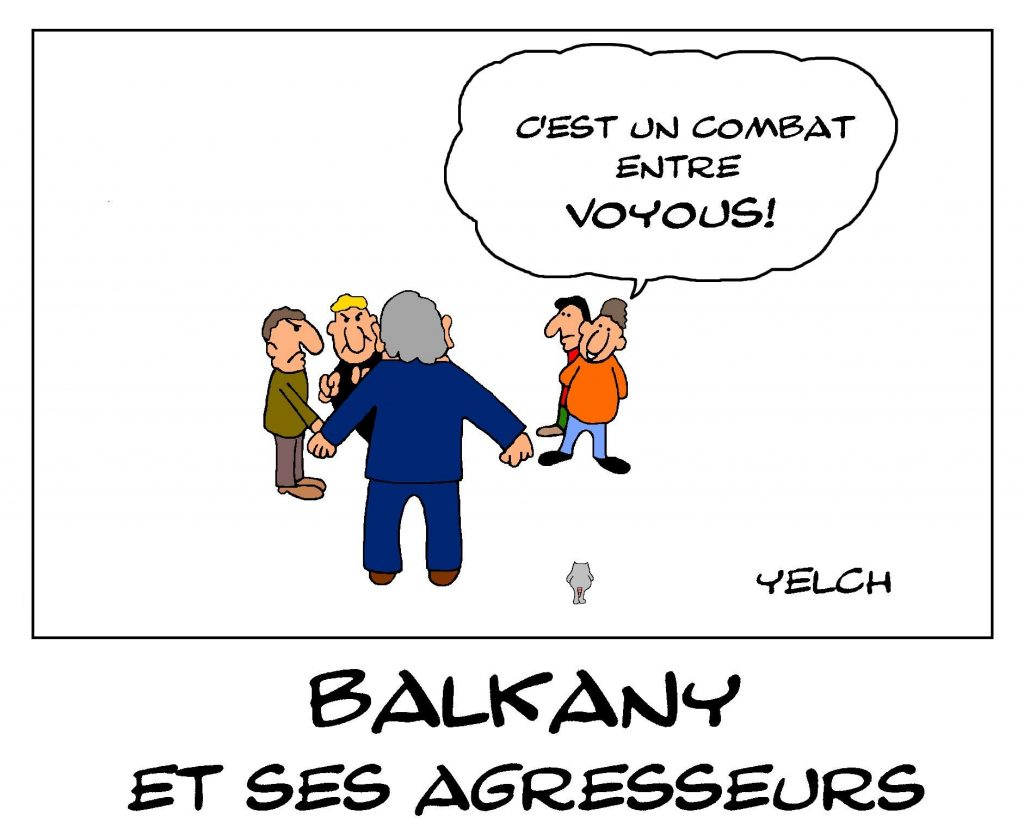 dessin de Yelch sur l'agression de Patrick Balkany