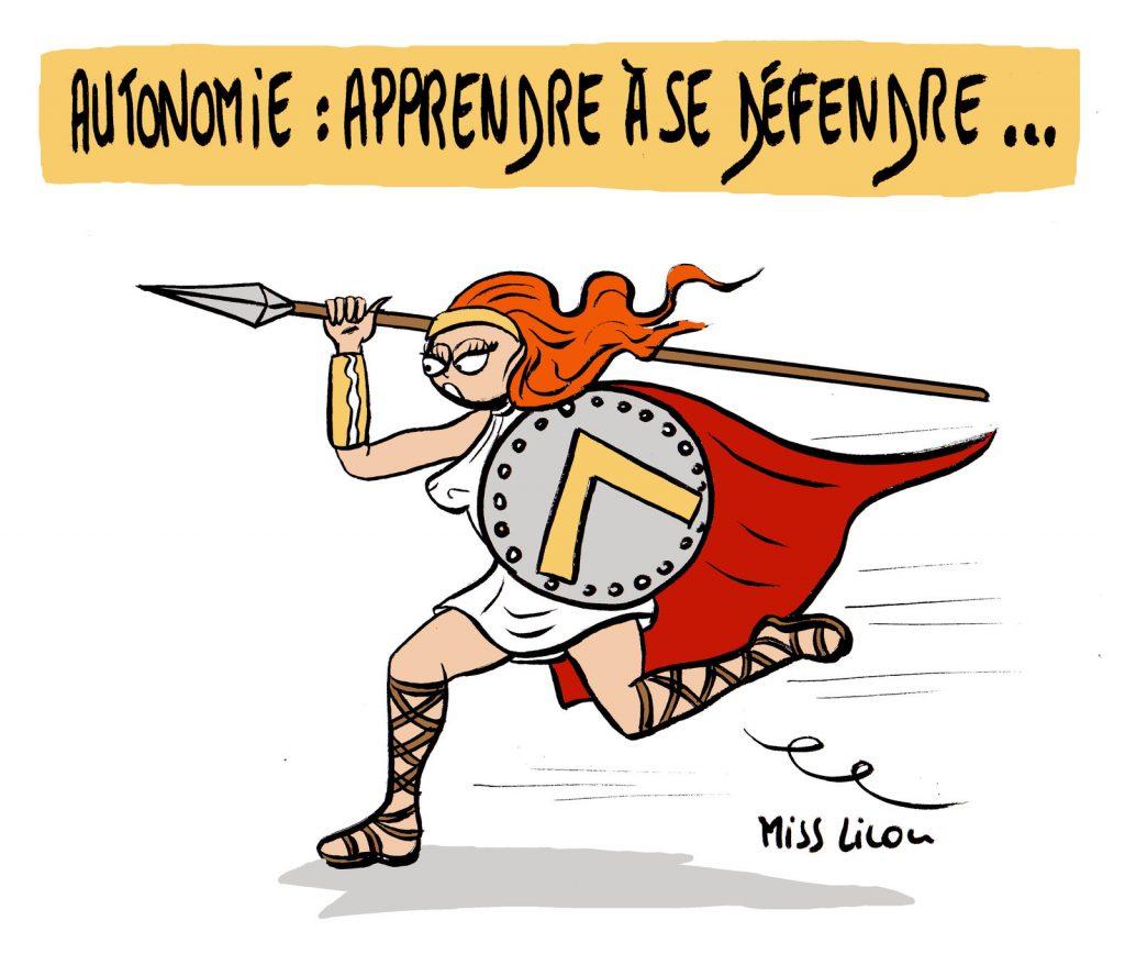 dessin de Miss Lilou sur l'autonomie et la nécessité d'apprendre à se défendre