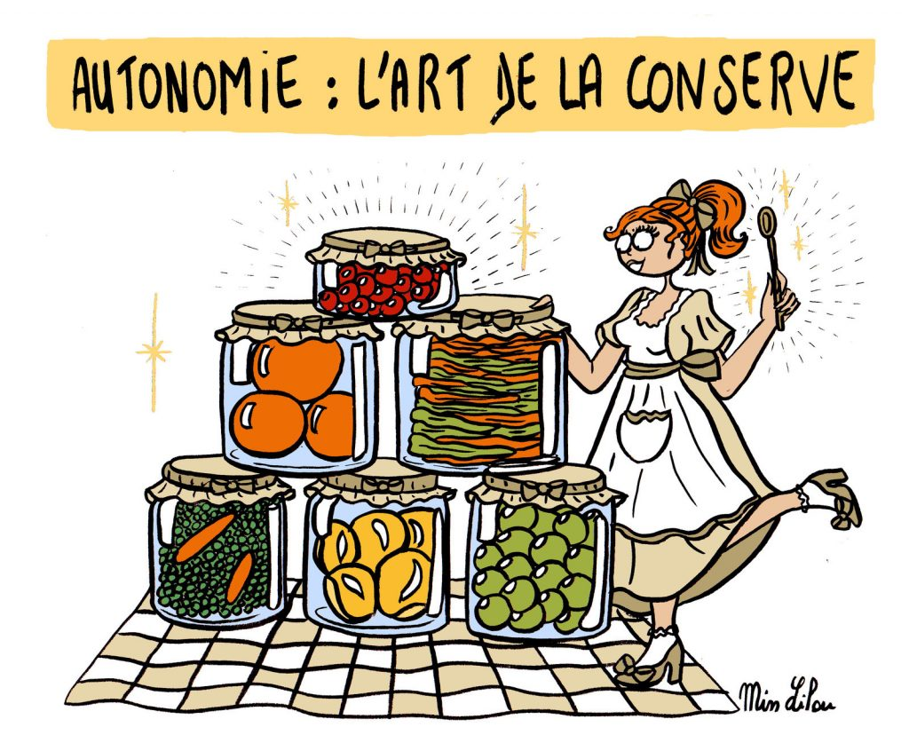 dessin de Miss Lilou sur l'autonomie et l'art de la conserve