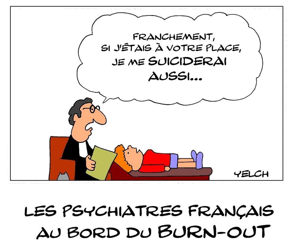 dessin de Yelch sur l'épuisement des psychiatres français