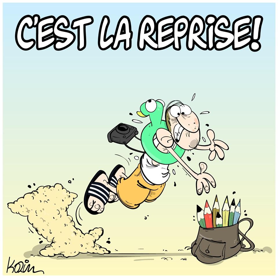 dessin d'actualité humoristique de Karim sur la fin des vacances