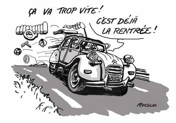 dessin d'actualité humoristique sur la fin des vacances et la rentrée scolaire