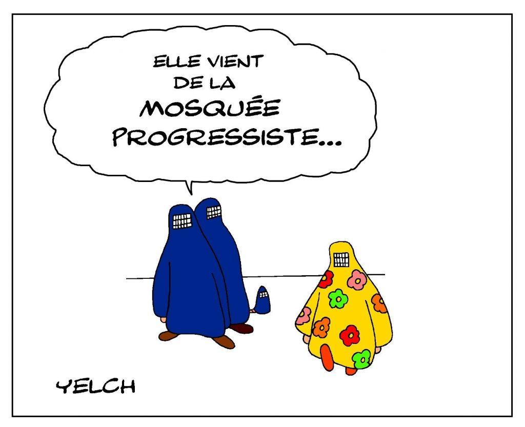 dessin de Yelch sur les moquées progressistes et l'islam progressif