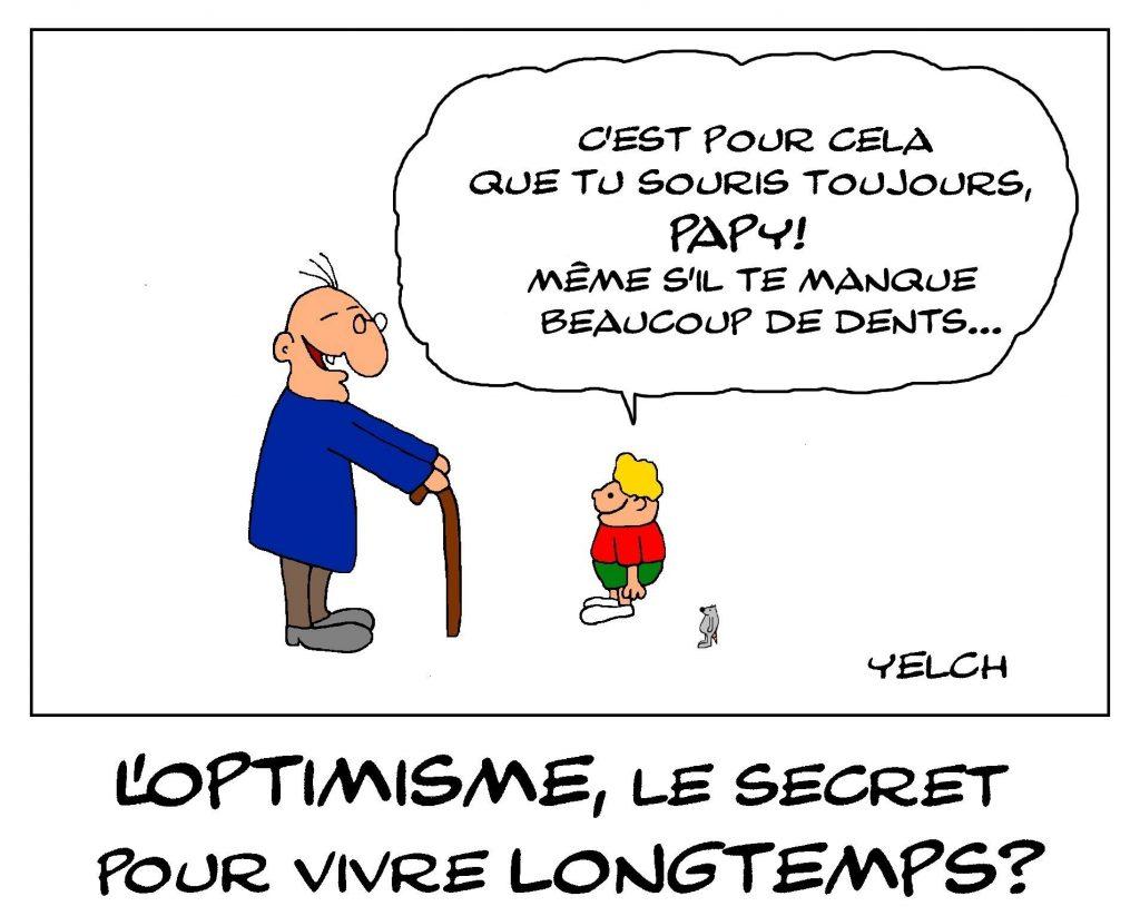 dessin de Yelch sur l'optimisme et la longévité