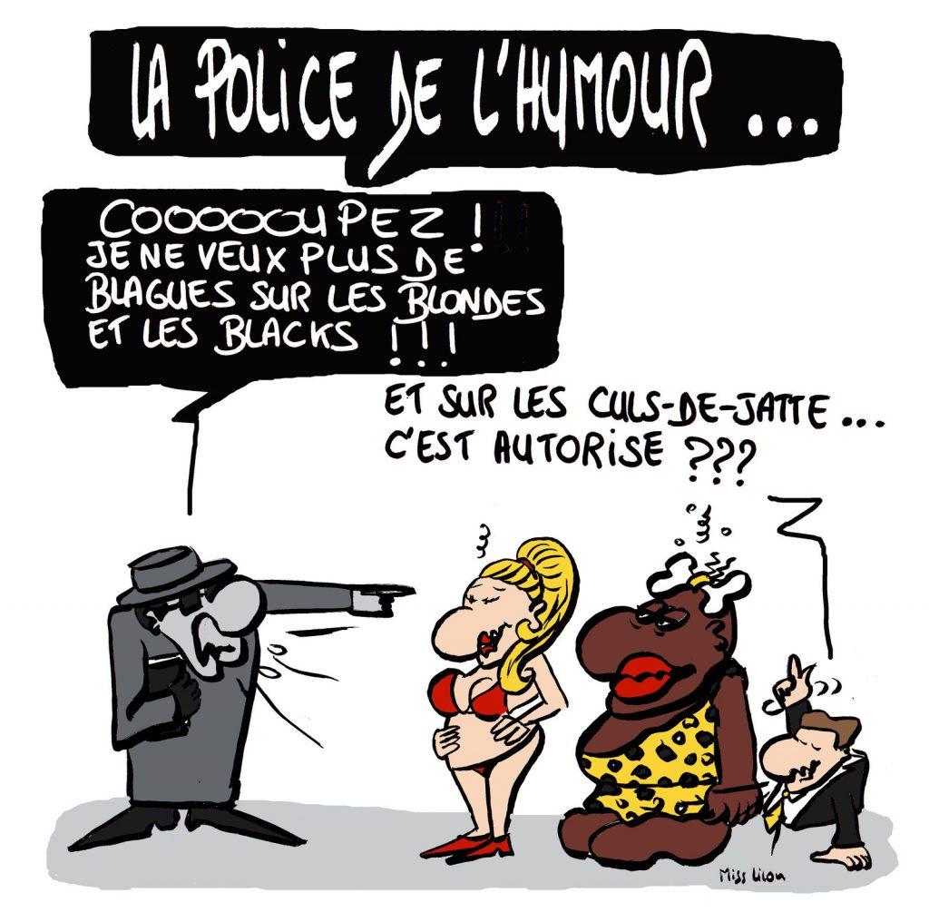dessin de Miss Lilou sur la nouvelle police de l'humour et les blagues