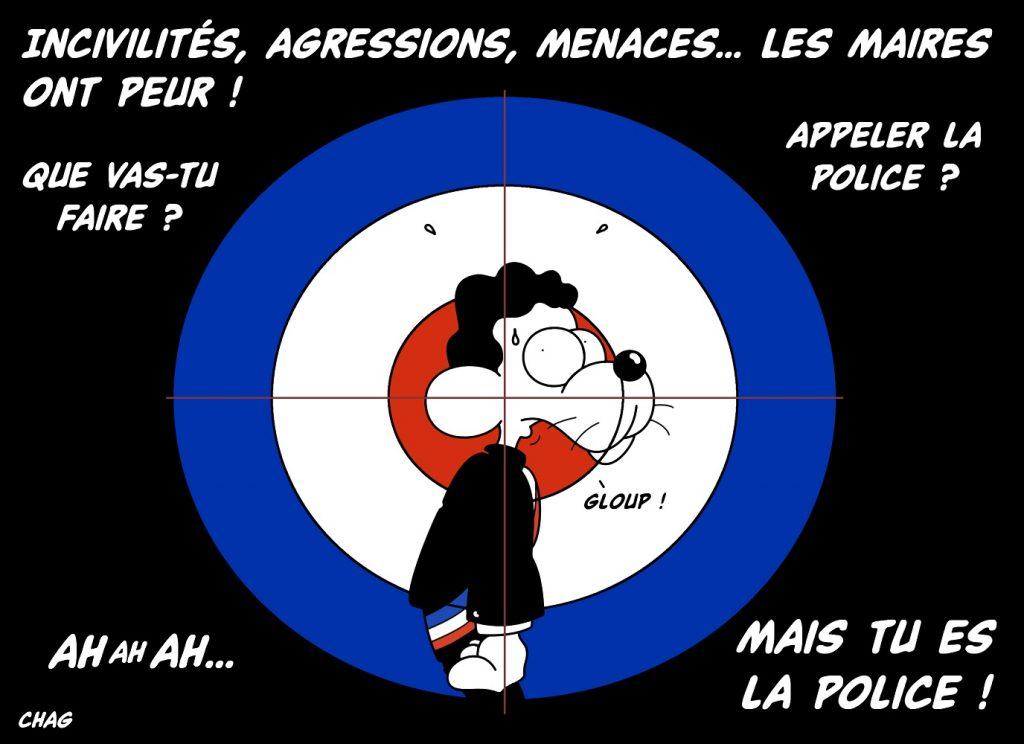 dessin d'humour de Chag sur la peur des maires après les incivilités, agressions et menaces dont ils font l'objet