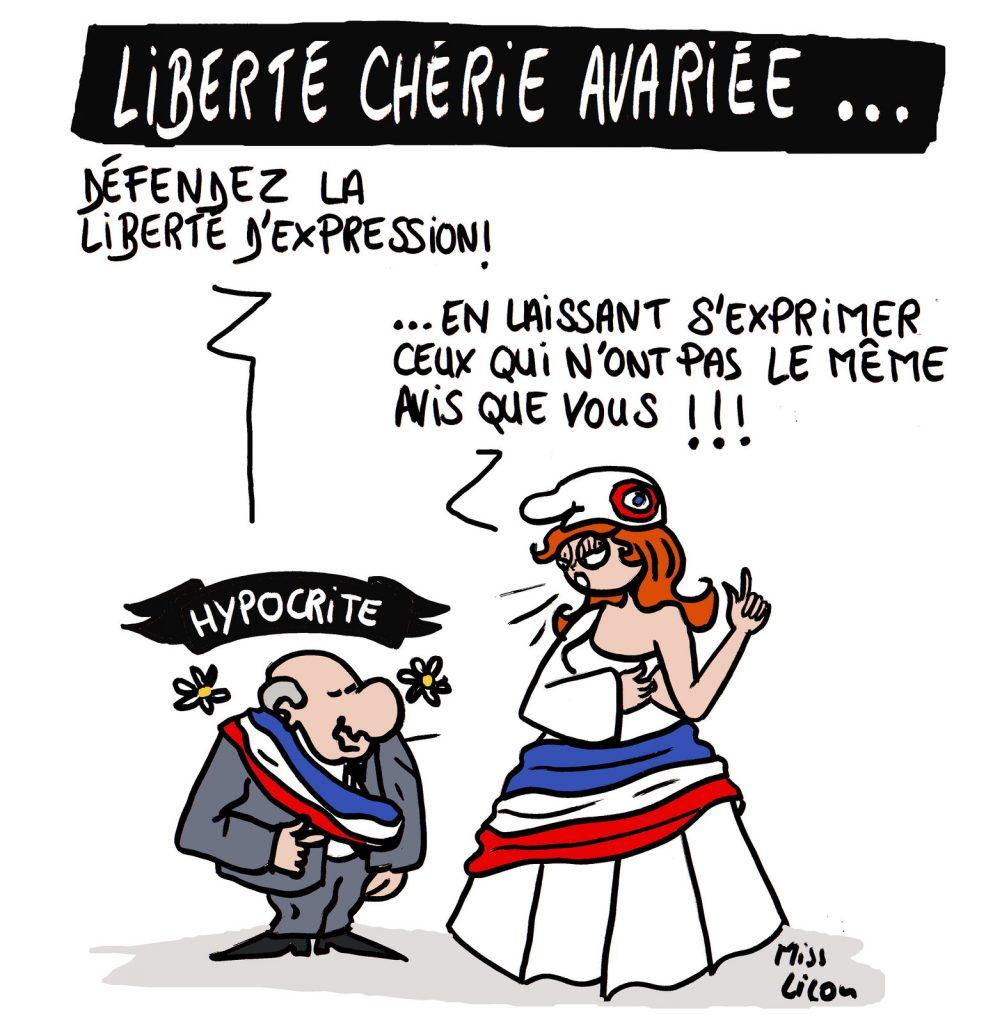 dessin de Miss Lilou sur la restriction larvée de la liberté d'expression