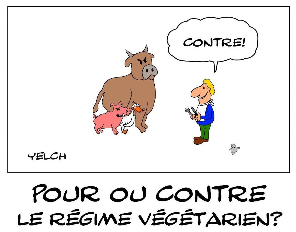 dessin de Yelch sur le régime végétarien