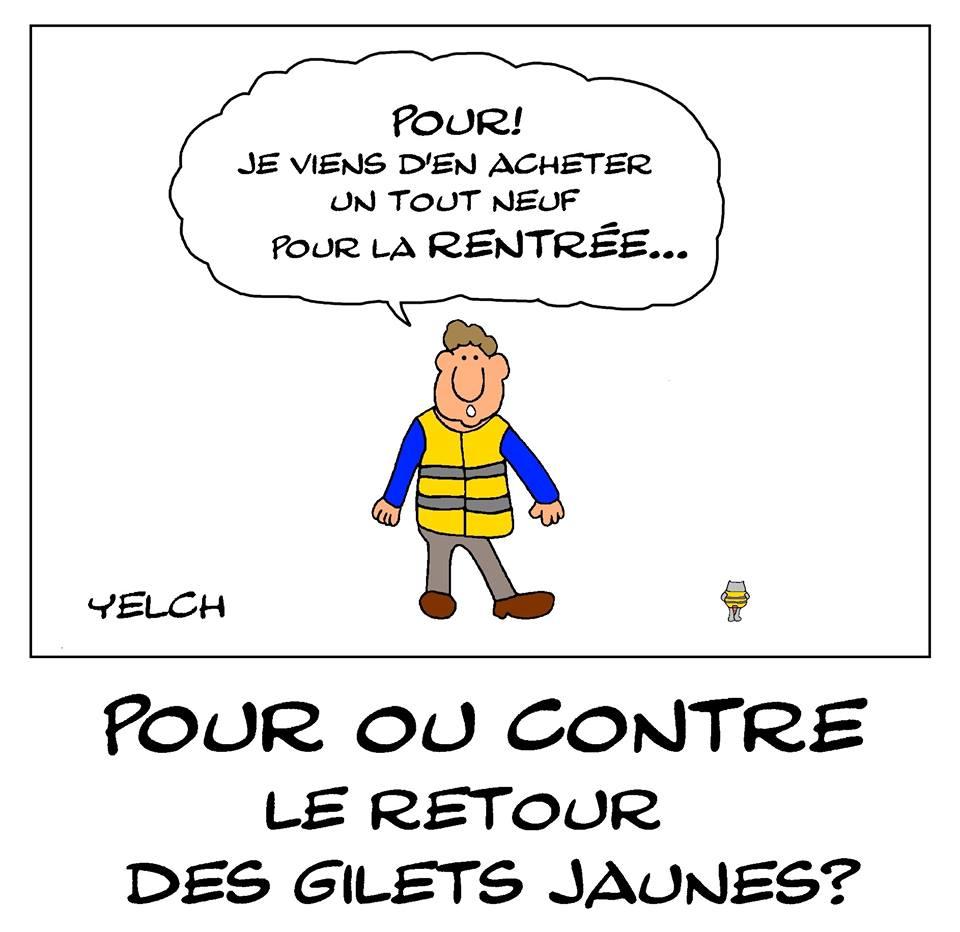 dessin de Yelch sur le retour du mouvement des gilets jaunes