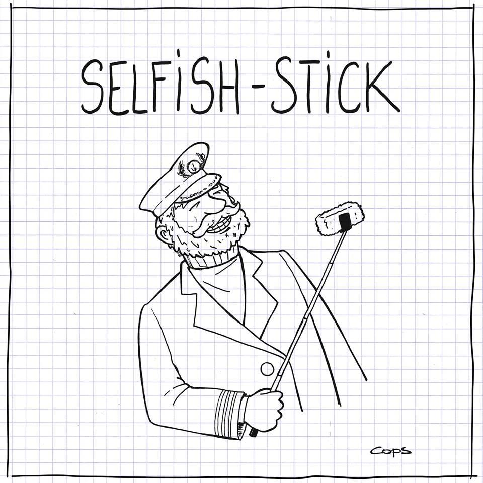 dessin de Cops sur les perches à selfie, les selfies et les poissons panés du Capitaine Iglo
