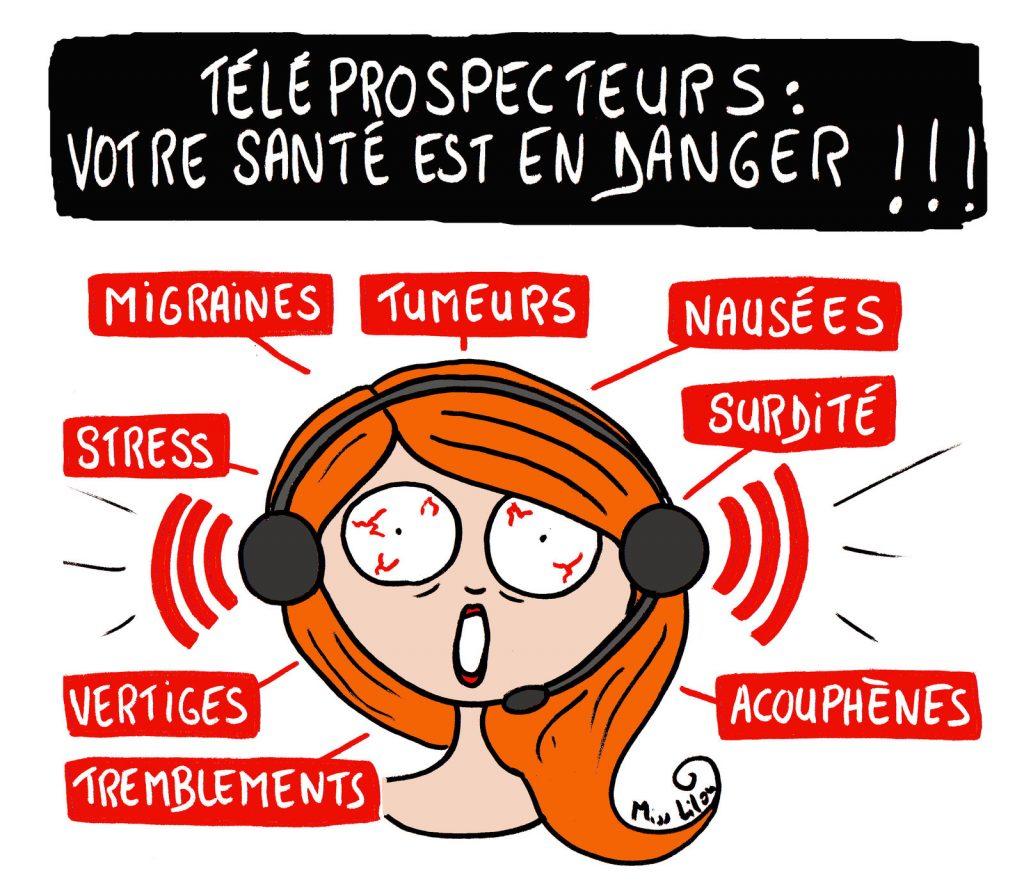 dessin de Miss Lilou sur les dangers pour la santé du métier de téléprospecteur