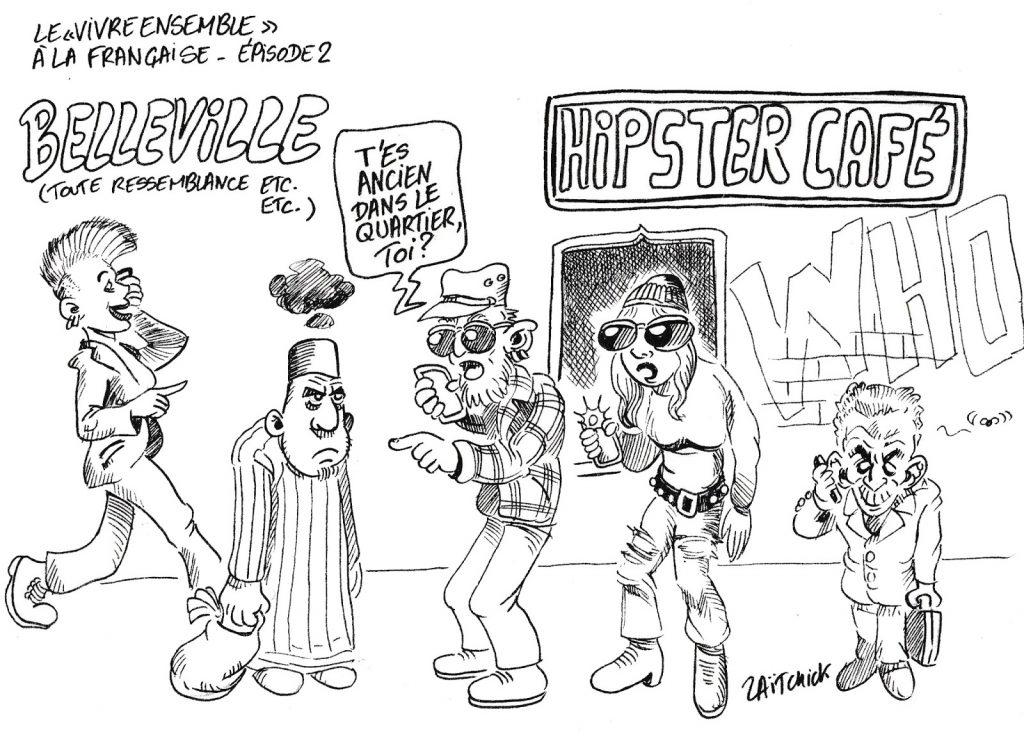 dessin humoristique de Zaïtchick sur le vivre ensemble à la française à Belleville