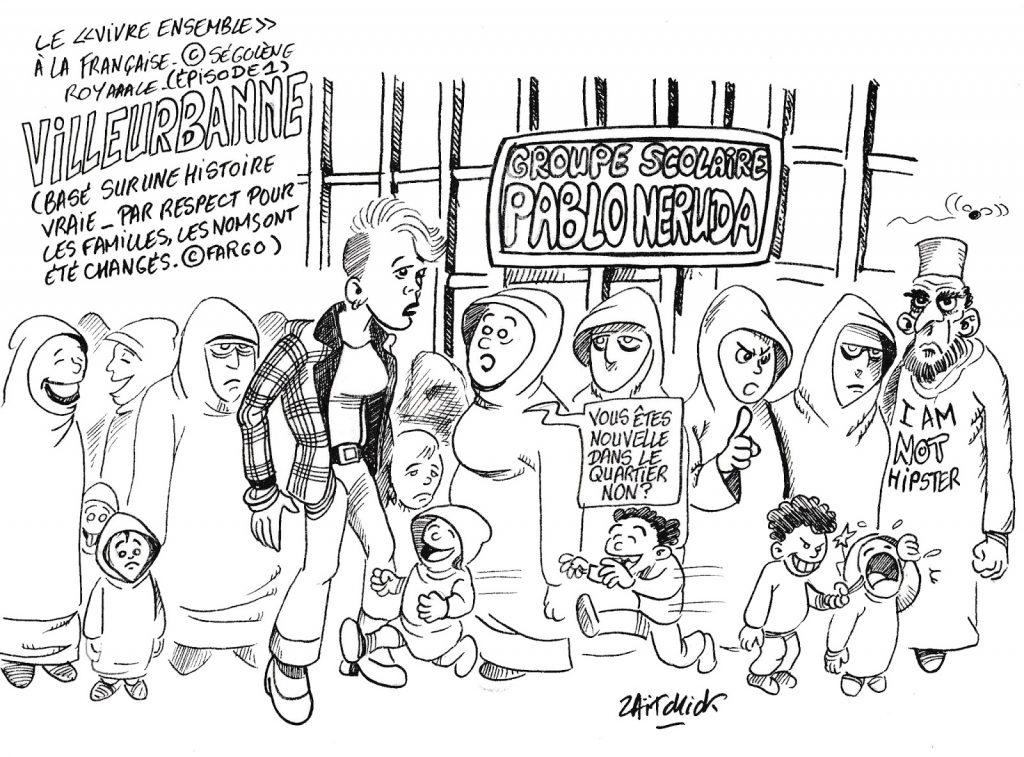 dessin humoristique de Zaïtchick sur le vivre ensemble à la française à Villeurbanne