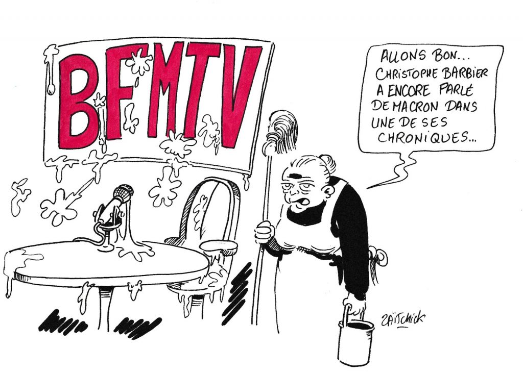dessin de Zaïtchick sur les chroniques de Christophe Barbier sur Emmanuel Macron