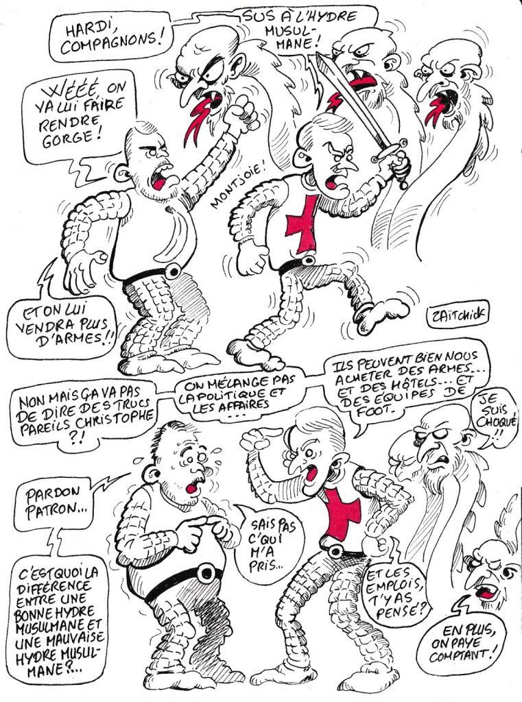 dessin de Zaïtchick sur Emmanuel Macron et l'hydre musulmane