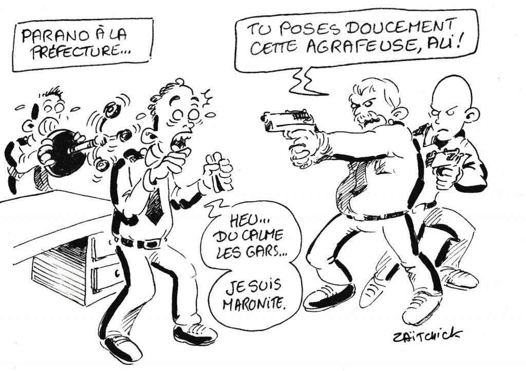 dessin de Zaïtchick sur l'attaque au couteau perpétré par Mickaël Harpon à la préfecture de police de Paris
