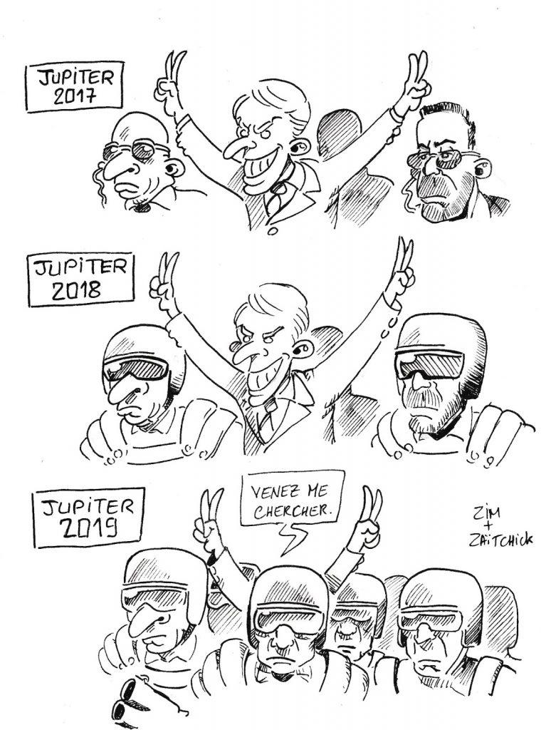 dessin de Zaïtchick sur la popularité décroissante d'Emmanuel Macron
