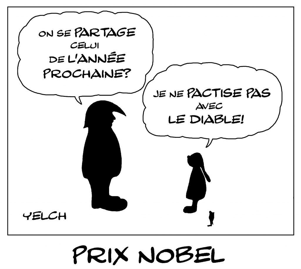 dessin de Yelch sur le prix Nobel de la Paix, Greta Thunberg et Donald Trump
