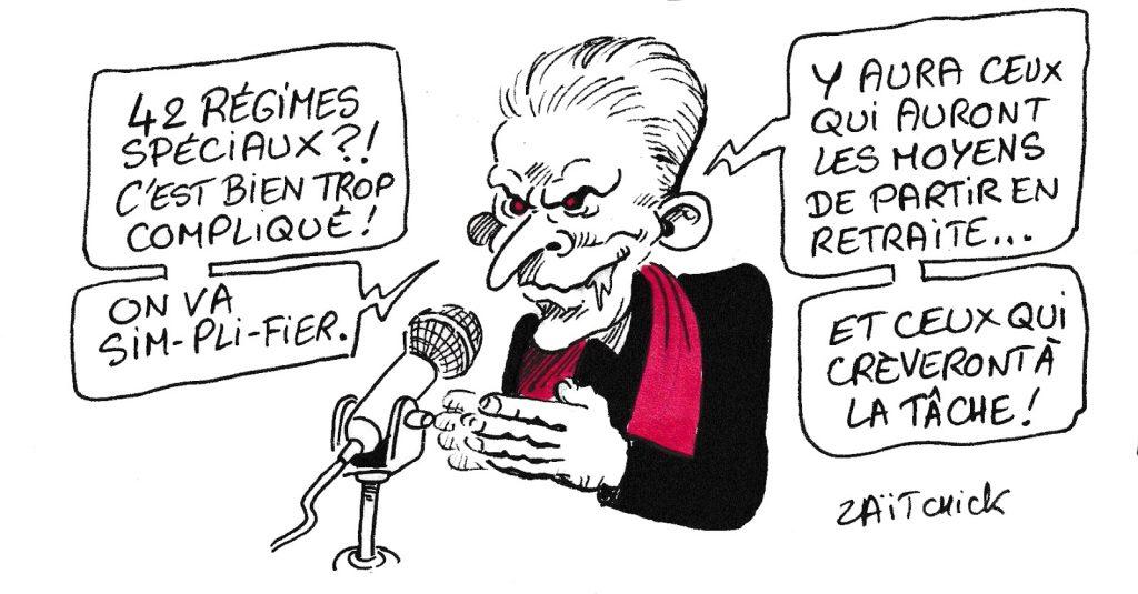 dessin de Zaïtchick sur Christophe Barbier et la réforme des retraites