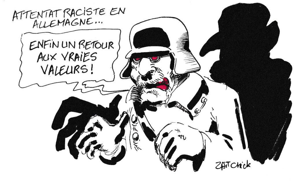 dessin de Zaïtchick sur l'attentat raciste en Allemagne
