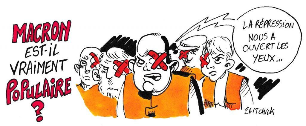 dessin de Zaïtchick sur la popularité d'Emmanuel Macron et la répression policière