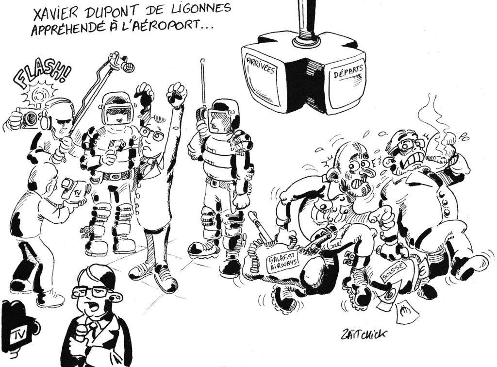 dessin de Zaïtchick sur l'emballement médiatique sur l'arrestation de Xavier Dupont de Ligonnès