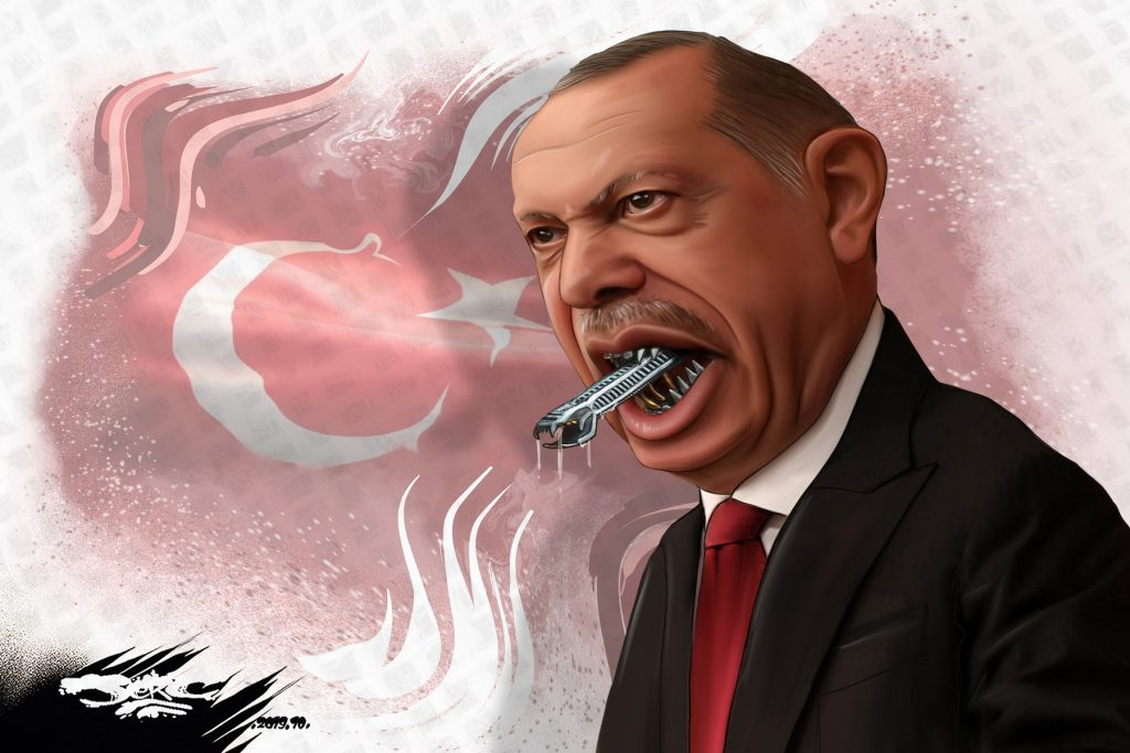 dessin d'actualité humoristique de Jerc sur l'offensive turque contre les Kurdes