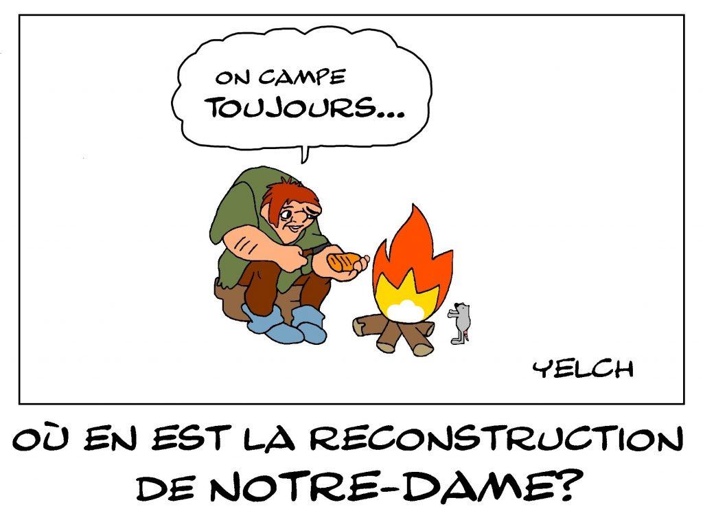 dessin de Yelch sur la reconstruction de Notre-Dame de Paris