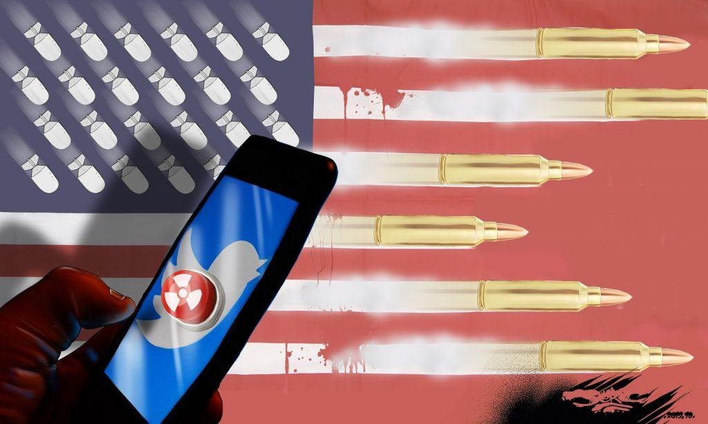 dessin d'actualité humoristique de Jerc sur les États-Unis shérif du monde