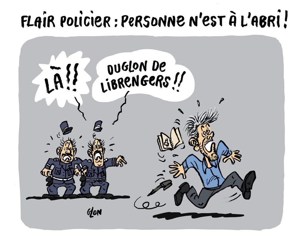 dessin humoristique de Glon sur l'emballement médiatique sur l'arrestation de Xavier Dupont de Ligonnès