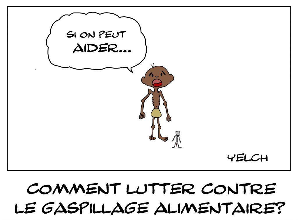 dessin de Yelch sur le gaspillage alimentaire et la famine dans le monde