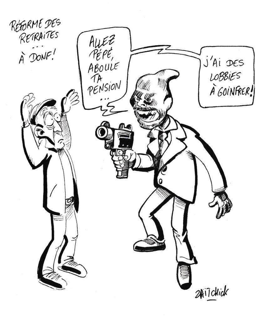 dessin de Zaïtchick sur la réforme des retraites menée à marche forcée par Édouard Philippe