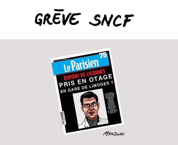 dessin d'actualité humoristique sur Xavier Dupont de Ligonnès et la grève SNCF