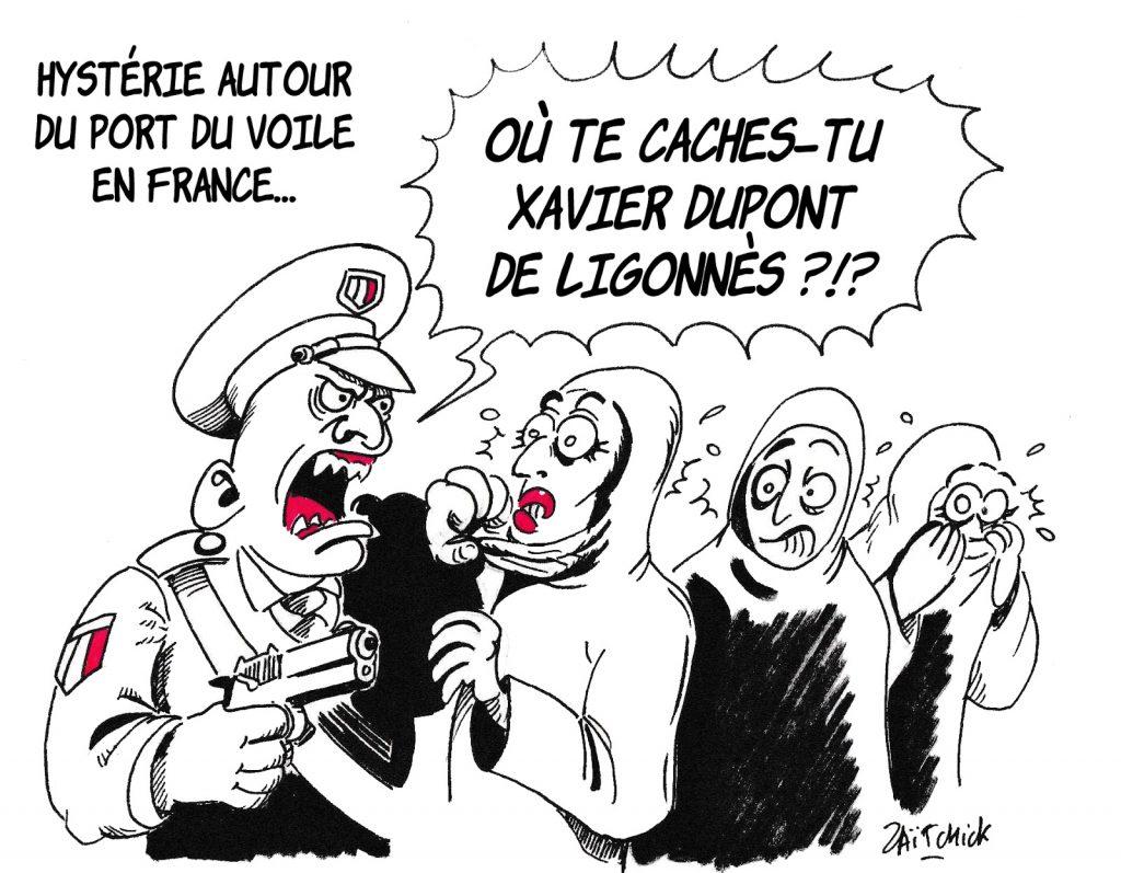 dessin de Zaïtchick sur l'hystérie autour du port du voile et l'arrestation de Xavier Dupont de Ligonnès