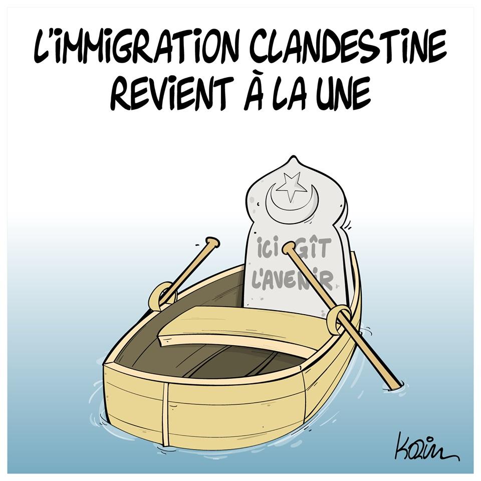 dessin d'actualité humoristique de Karim sur le retour à la une de l'immigration clandestine en Algérie