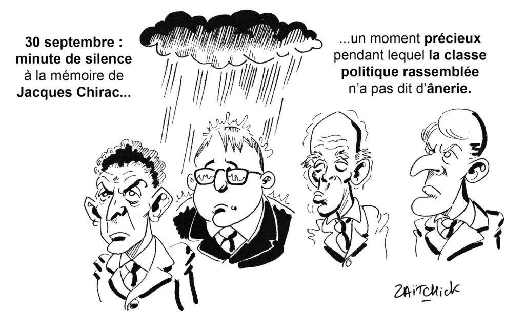 dessin humoristique de Zaïtchick sur la minute de silence observée à la mémoire de Jacques Chirac