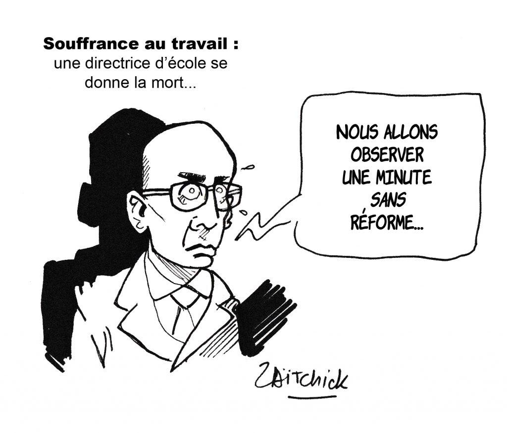 dessin humoristique de Zaïtchick sur le suicide sur son lieu de travail de Christine Renon, directrice d'école