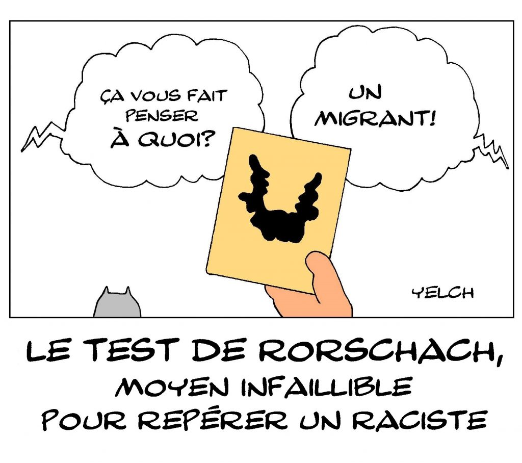 dessin de Yelch sur le test de Rorschach et les racistes